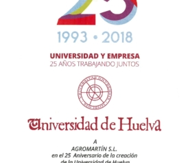 RECOGNITION OF THE UHU TO AGROMARTÍN AS A COLLABORATING COMPANY IN THE FORMATION OF YOUNG PEOPLE